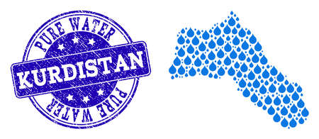 Map of Kurdistan vector mosaic and Pure Water grunge stamp. Map of Kurdistan formed with blue water raindrops. Seal with retro rubber texture for clean drinking water. Çizim