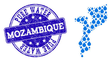 Map of Mozambique vector mosaic and Pure Water grunge stamp. Map of Mozambique created with blue water tears. Seal with retro rubber texture for natural drinking water.