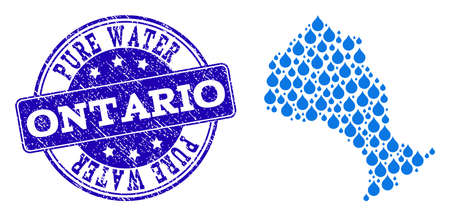 Map of Ontario Province vector mosaic and Pure Water grunge stamp. Map of Ontario Province formed with blue water tears. Seal with grunge rubber texture for pure drinking water. Иллюстрация