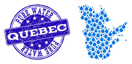 Map of Quebec Province vector mosaic and Pure Water grunge stamp. Map of Quebec Province composed with blue aqua tears. Seal with grunge rubber texture for pure drinking water. Иллюстрация