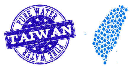 Map of Taiwan vector mosaic and Pure Water grunge stamp. Map of Taiwan designed with blue aqua raindrops. Seal with distress rubber texture for pure drinking water. 일러스트