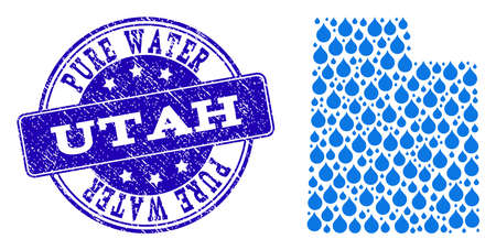 Map of Utah State vector mosaic and Pure Water grunge stamp. Map of Utah State composed with blue aqua drops. Seal with grunge rubber texture for pure drinking water.  イラスト・ベクター素材