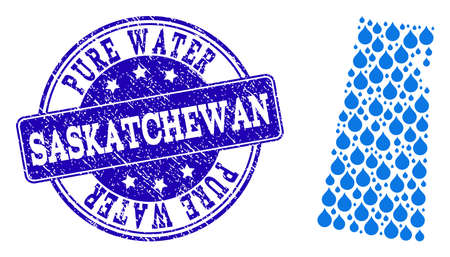 Map of Saskatchewan Province vector mosaic and Pure Water grunge stamp. Map of Saskatchewan Province created with blue liquid raindrops. Seal with grunge rubber texture for pure drinking water.