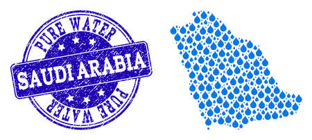 Map of Saudi Arabia vector mosaic and Pure Water grunge stamp. Map of Saudi Arabia created with blue water raindrops. Seal with grunge rubber texture for clean drinking water.