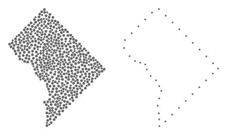 Dot and Frame map of District Columbia designed with dots. Vector grey abstraction of map of District Columbia. Connect the dots educational geographic drawing for map of District Columbia.