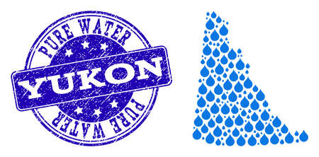Map of Yukon Province vector mosaic and Pure Water grunge stamp. Map of Yukon Province composed with blue liquid dews. Seal with grunge rubber texture for natural drinking water.