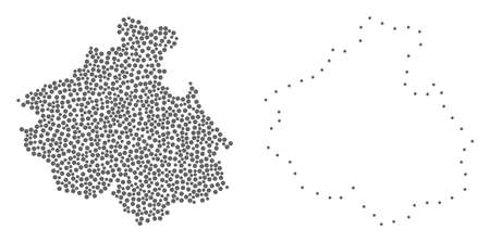 Dotted and Frame map of Altai Republic composed with dots. Vector gray abstraction of map of Altai Republic. Connect the dots educational geographic drawing for map of Altai Republic.