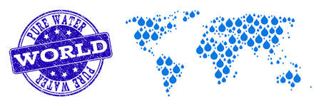 Map of world vector mosaic and Pure Water grunge stamp. Map of world created with blue water tears. Seal with distress rubber texture for pure drinking water.