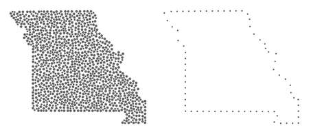 Dotted and Frame map of Missouri State created with dots. Vector gray abstraction of map of Missouri State. Connect the dots educational geographic drawing for map of Missouri State. Ilustração