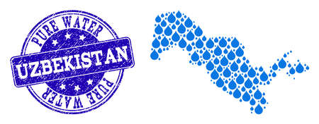 Map of Uzbekistan vector mosaic and Pure Water grunge stamp. Map of Uzbekistan formed with blue water raindrops. Seal with grunge rubber texture for clean drinking water.