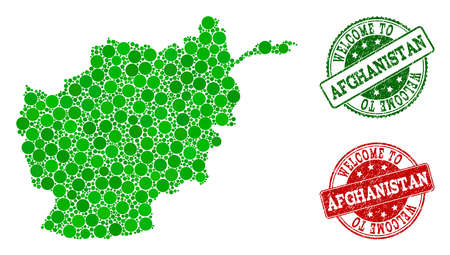 Welcome combination of map of Afghanistan and unclean seals. Vector greeting seals with grunge rubber texture in green and red colors. Greeting flat design for patriotic posters.
