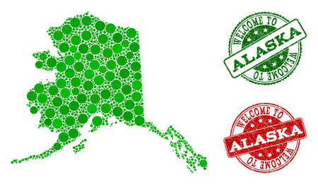 Welcome collage of map of Alaska State and rubber seals. Vector greeting seals with retro rubber texture in green and red colors. Greeting flat design for guest appreciation purposes. Иллюстрация