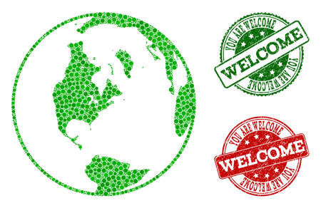 Welcome combination of global map of world and rubber seal stamps. Vector greeting watermarks with scratched rubber texture in green and red colors.