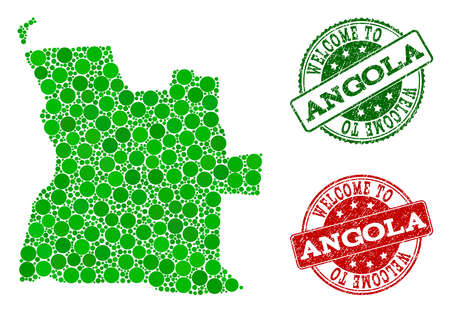Welcome combination of map of Angola and textured seals. Vector greeting seals with unclean rubber texture in green and red colors. Welcome flat design for guest appreciation templates.