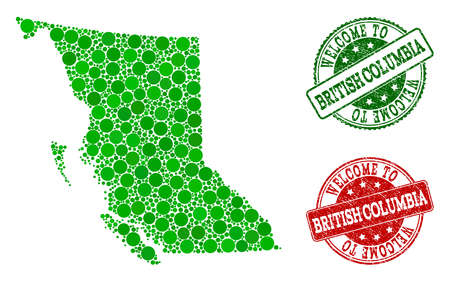 Welcome combination of map of British Columbia Province and rubber stamps. Vector greeting seals with unclean rubber texture in green and red colors. Greeting flat design for patriotic illustrations. 일러스트