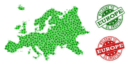 Welcome combination of map of Europe and rubber seal stamps. Vector greeting watermarks with scratched rubber texture in green and red colors. Welcome flat design for guest appreciation purposes.