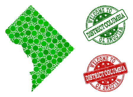 Welcome combination of map of District Columbia and grunge seal stamps. Vector greeting watermarks with grunge rubber texture in green and red colors. Welcome flat design for political purposes.