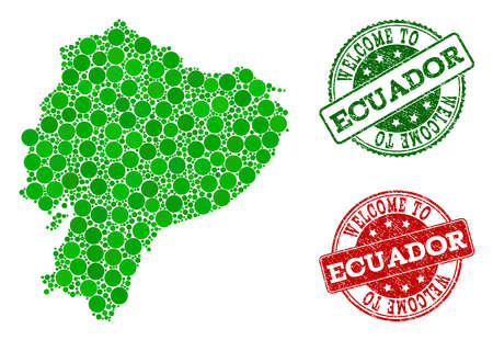Welcome combination of map of Ecuador and rubber seal stamps. Vector greeting imprints with grunge rubber texture in green and red colors. Greeting flat design for patriotic purposes.