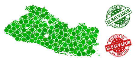 Welcome composition of map of El Salvador and rubber seals. Vector greeting seals with distress rubber texture in green and red colors. Greeting flat design for guest appreciation purposes.