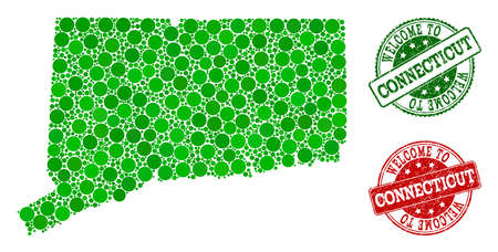 Welcome composition of map of Connecticut State and textured seals. Vector greeting seals with distress rubber texture in green and red colors. Welcome flat design for tourist greetings purposes.