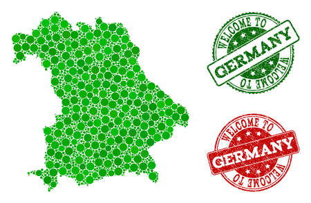 Welcome combination of map of Germany and rubber stamps. Vector greeting seals with retro rubber texture in green and red colors. Greeting flat design for guest appreciation illustrations.