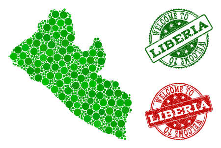 Welcome collage of map of Liberia and rubber seals. Vector greeting seals with retro rubber texture in green and red colors. Welcome flat design for guest appreciation posters. Illustration