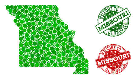 Welcome composition of map of Missouri State and rubber seals. Vector greeting seals with unclean rubber texture in green and red colors. Greeting flat design for political posters.