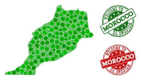 Welcome combination of map of Morocco and rubber seal stamps. Vector greeting seals with distress rubber texture in green and red colors. Greeting flat design for guest appreciation illustrations. Illustration