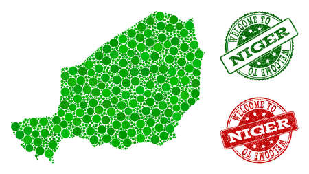 Welcome combination of map of Niger and unclean seals. Vector greeting watermarks with unclean rubber texture in green and red colors. Welcome flat design for guest appreciation posters. Illustration