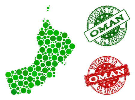Welcome composition of map of Oman and corroded stamps. Vector greeting seals with corroded rubber texture in green and red colors. Greeting flat design for guest appreciation purposes.