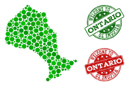 Welcome collage of map of Ontario Province and rubber seals. Vector greeting seals with scratched rubber texture in green and red colors. Greeting flat design for patriotic purposes.