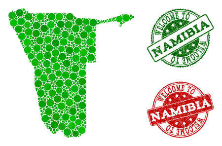 Welcome collage of map of Namibia and corroded stamps. Vector greeting watermarks with corroded rubber texture in green and red colors. Welcome flat design for political templates.