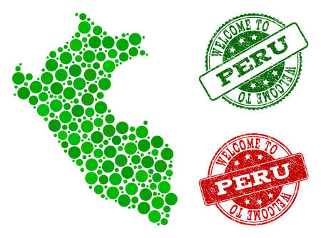 Welcome collage of map of Peru and scratched seal stamps. Vector greeting imprints with scratched rubber texture in green and red colors. Welcome flat design for guest appreciation templates.