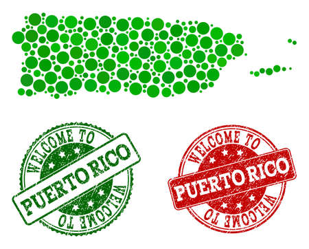 Welcome combination of map of Puerto Rico and rubber stamps. Vector greeting watermarks with grunge rubber texture in green and red colors. Greeting flat design for guest appreciation purposes. Illustration