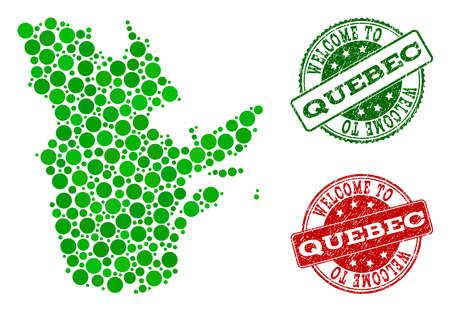 Welcome composition of map of Quebec Province and corroded seal stamps. Vector greeting watermarks with corroded rubber texture in green and red colors. Иллюстрация