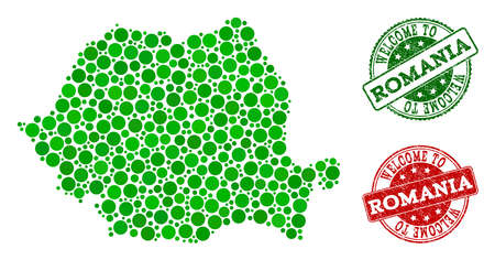 Welcome composition of map of Romania and rubber seals. Vector greeting seals with grunge rubber texture in green and red colors. Welcome flat design for political posters. Ilustração