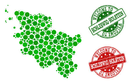 Welcome collage of map of Schleswig-Holstein State and scratched seals. Vector greeting seals with retro rubber texture in green and red colors. Welcome flat design for guest appreciation posters.