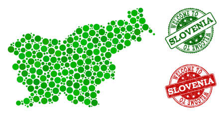 Welcome collage of map of Slovenia and scratched seals. Vector greeting seals with distress rubber texture in green and red colors. Greeting flat design for guest appreciation posters.