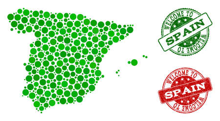 Welcome collage of map of Spain and rubber seal stamps. Vector greeting seals with corroded rubber texture in green and red colors. Greeting flat design for guest appreciation purposes.