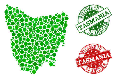 Welcome combination of map of Tasmania Island and corroded stamps. Vector greeting imprints with corroded rubber texture in green and red colors. Greeting flat design for political templates.
