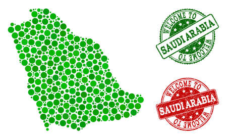 Welcome composition of map of Saudi Arabia and unclean stamps. Vector greeting imprints with unclean rubber texture in green and red colors. Welcome flat design for guest appreciation purposes.