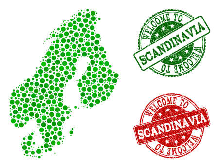 Welcome collage of map of Scandinavia and rubber seals. Vector greeting seals with distress rubber texture in green and red colors. Welcome flat design for political posters.