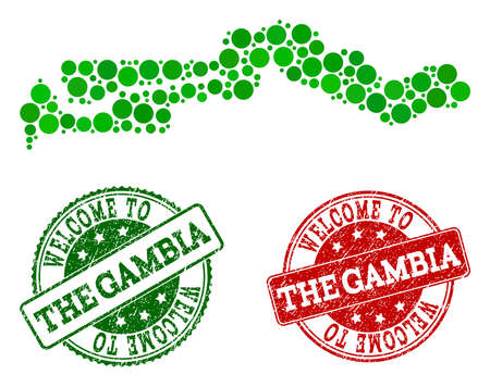 Welcome composition of map of the Gambia and rubber stamps. Vector greeting seals with corroded rubber texture in green and red colors. Greeting flat design for guest appreciation templates.