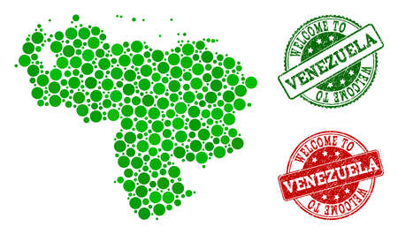 Welcome collage of map of Venezuela and rubber seals. Vector greeting seals with unclean rubber texture in green and red colors. Greeting flat design for guest appreciation illustrations.