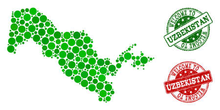 Welcome composition of map of Uzbekistan and rubber stamps. Vector greeting imprints with scratched rubber texture in green and red colors. Greeting flat design for guest appreciation posters.
