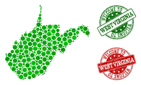 Welcome combination of map of West Virginia State and scratched seals. Vector greeting seals with unclean rubber texture in green and red colors. Greeting flat design for guest appreciation purposes. Illustration