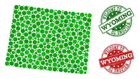 Welcome combination of map of Wyoming State and unclean seals. Vector greeting seals with retro rubber texture in green and red colors. Greeting flat design for political purposes.