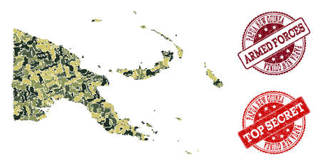 Military camouflage composition of map of Papua New Guinea and red rubber stamps. Vector top secret and armed forces watermarks with unclean rubber texture. Army flat design for patriotic templates. Illustration