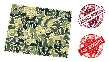 Military camouflage composition of map of Wyoming State and red unclean stamps. Vector top secret and armed forces imprints with unclean rubber texture. Army flat design for military templates.