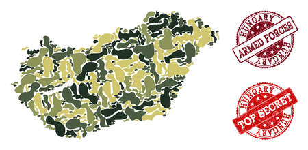 Military camouflage collage of map of Hungary and red rubber stamps. Vector top secret and armed forces watermarks with scratched rubber texture. Army flat design for military templates.